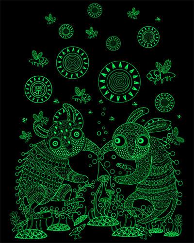 Толстовка Танец вокруг грибов, светится в темноте и УФ