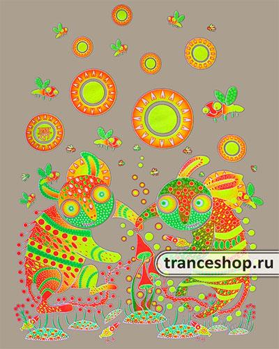 Лонгслив «Танец вокруг грибов», светится в темноте и УФ